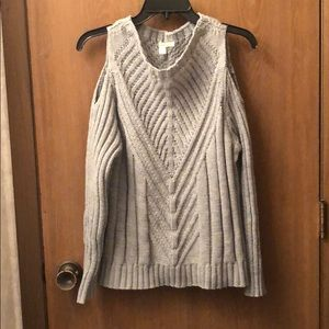 Cold-Shoulder Gray Knit Sweater